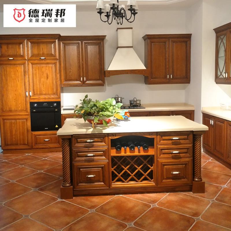德瑞邦橱柜整体厨房 半岛型美式棕色橱柜定制 多功能超大组合橱柜定制凯撒大帝18102