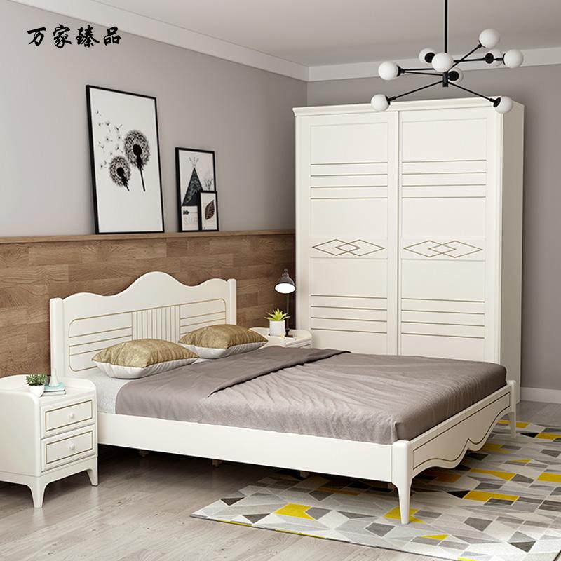 万家臻品-北欧衣柜推拉门木质2门简约现代衣柜滑门卧室衣橱移门经济型组装