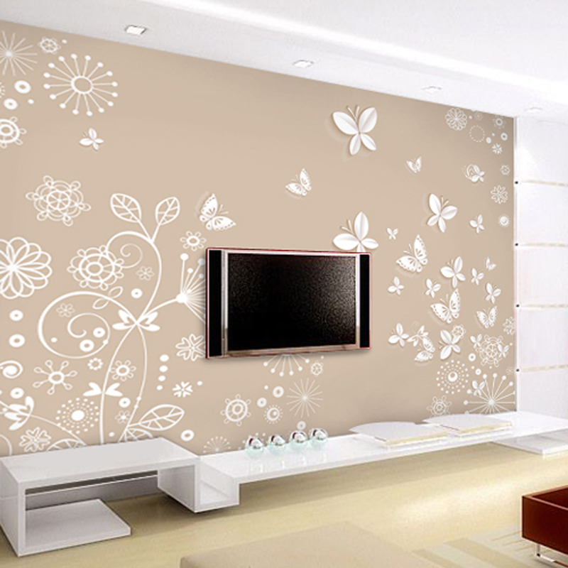 3d立体无缝墙布 客厅背景墙壁纸 简欧式电视墙纸影视墙