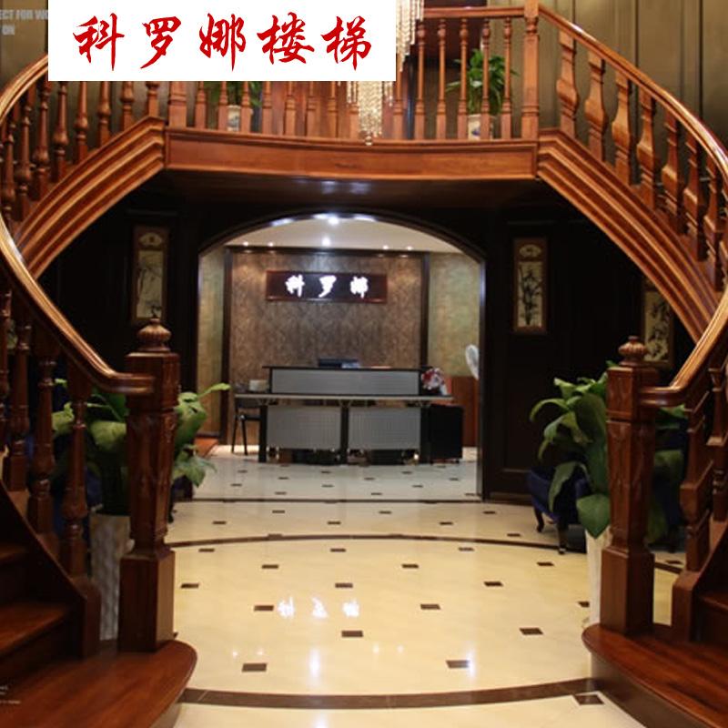 科罗娜 定制室内欧式中式别墅木楼梯 楼梯扶手栏杆 实木飘窗阳台护栏图片