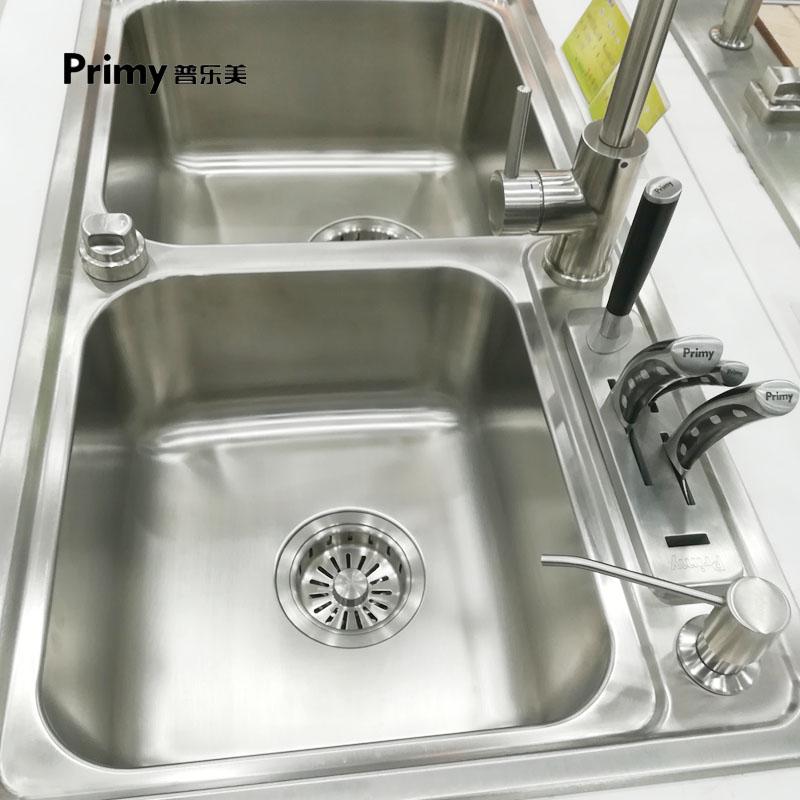 普乐美加厚304不锈钢水槽双槽带台控 台下盆厨房水池洗菜盆洗碗池