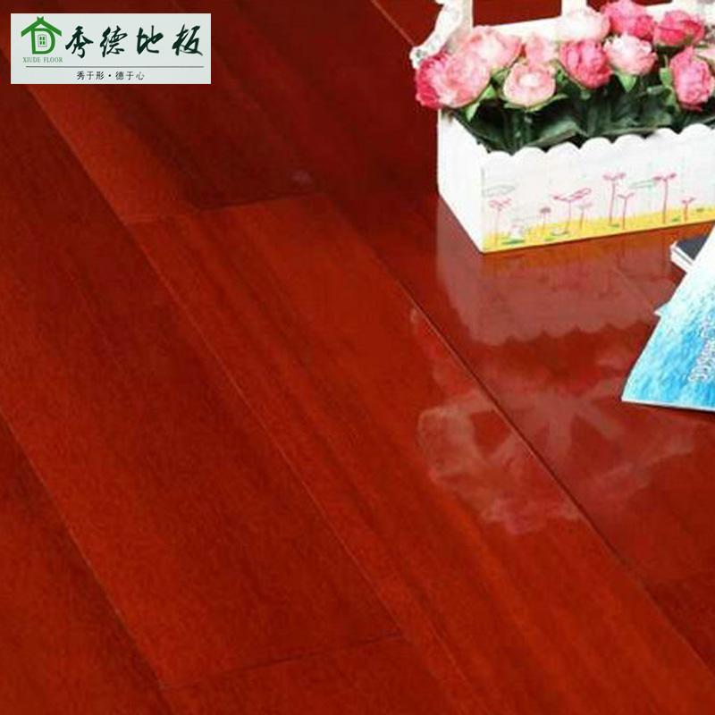 秀德地板 纯实番龙眼地板原木家用全实木地板木地板18mm红色平扣卧室