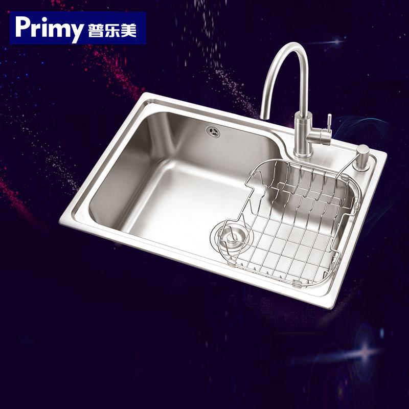 普乐美水槽单槽304不锈钢加厚厨房洗菜盆大单槽 配龙头单水槽套餐