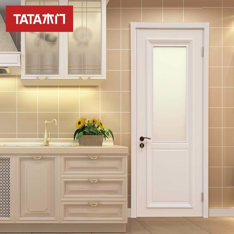 TATA木门(tata) 室内门油漆门 实木复合玻璃定制木门白混油BL040
