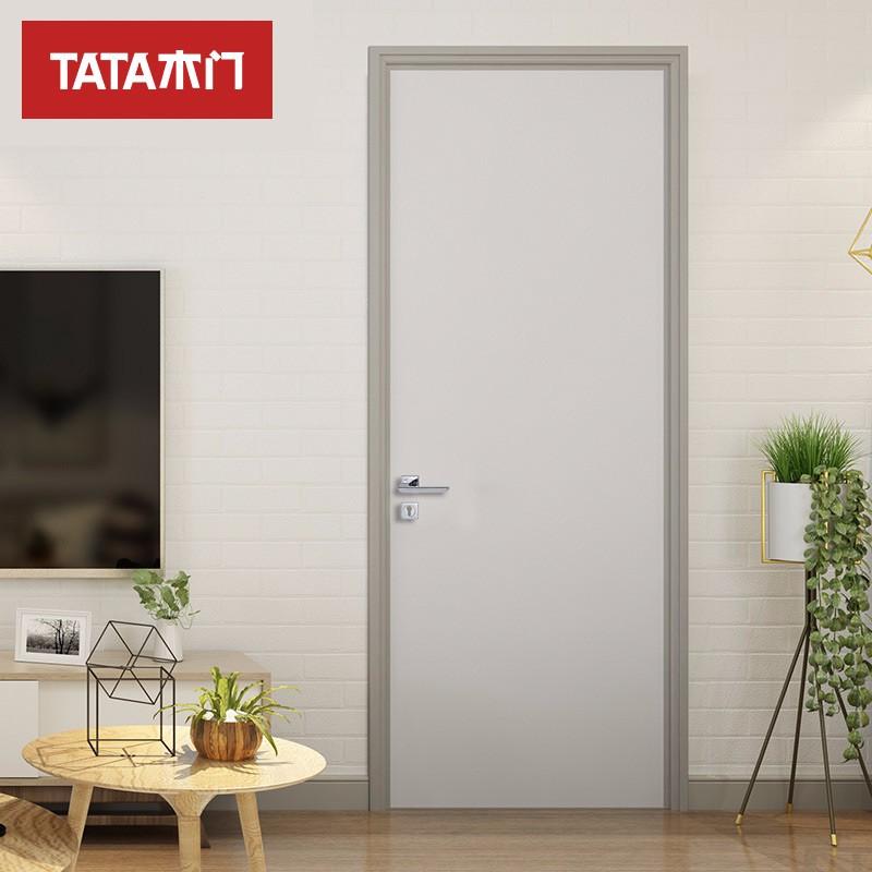 TATA木门(tata) 室内静音门 实木复合卧室环保油漆门定制木门JF-001-J